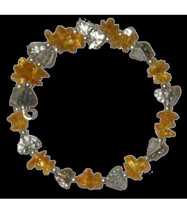 Bracelet virgile ambre de la baltique et métal argenté
