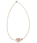 Collier GALENE quartz rose & nacre