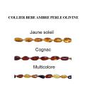 Collier Bébé Ambre Olivine (grain de riz) Cognac