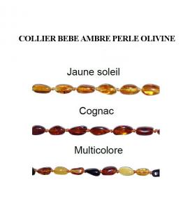 Collier Bébé Ambre Olivine (grain de riz) Jaune