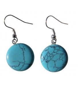 Boucles d'oreille Ecu Turquoise