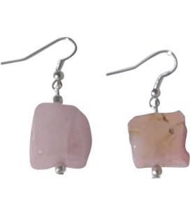 Boucles d'oreille Jude quartz rose