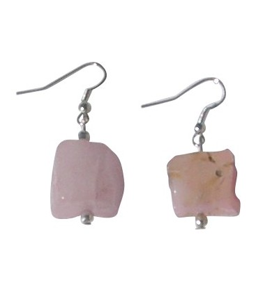 Boucles d'oreille Jude quartz rose