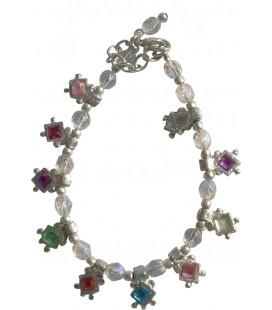 Bracelet Marianne en résine et métal argenté