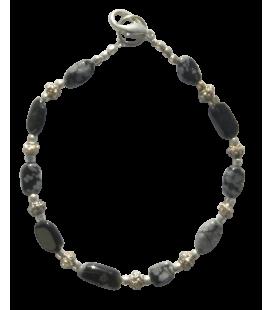 BIJ 910 BRA Bracelet Yvette obsidienne mouchetée