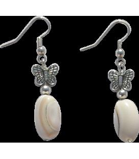 Boucles d'oreille Orphée coquillage et métal argenté