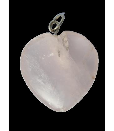 Coeur quartz rose et chaînette